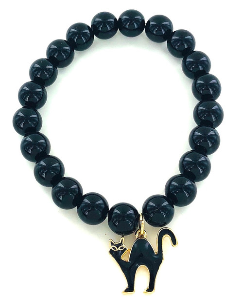 Wholesale Black Cat Beaded Bracelet