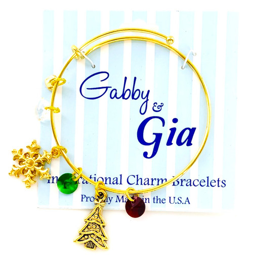 Limited Edition Gabby & Gia Christmas Tree Bracelets in Gold