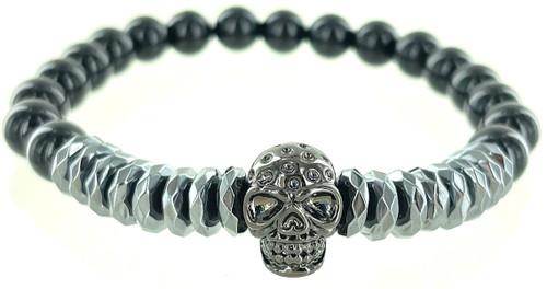 Wholesale Hematite & Stone Skull Bracelet