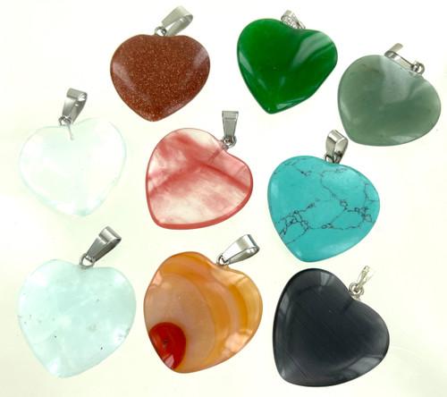 Genuine Stone Pendants by the Dozen - Hearts