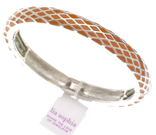 Wholesale Honeycomb Stretch Bangle Bracelet - Orange