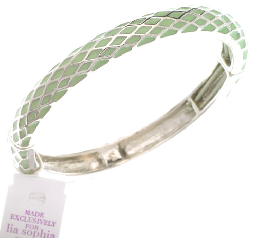 Wholesale Honeycomb Stretch Bangle Bracelet - Mint