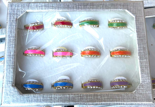 Wholesale Bright Enamel Crystal Rows Rings by the Dozen