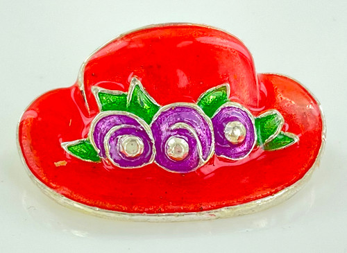 Wholesale Red Enamel Hat Pin with Flowers by the Dozen