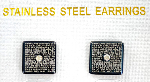 Wholesale Stainless Steel Lord's Prayer Earrings in Spanish - Square by the Dozen