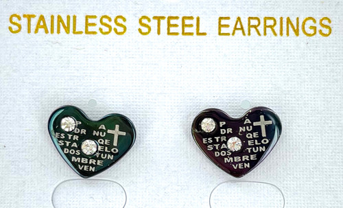 Wholesale Stainless Steel Lord's Prayer Earrings in Spanish - Heart by the Dozen