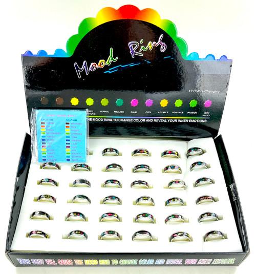 Wholesale Kids Moods Rings in Box - 36 Rings