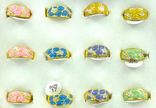 Wholesale Pastel Enamel Nugget Rings by the Dozen