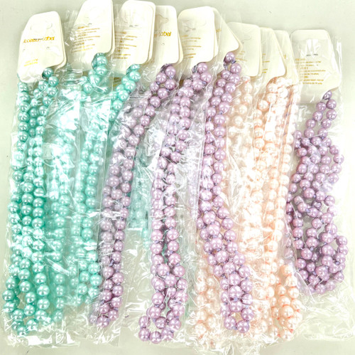Wholesale Pastel Pearl Necklaces by the Dozen - 34 Inches Long
