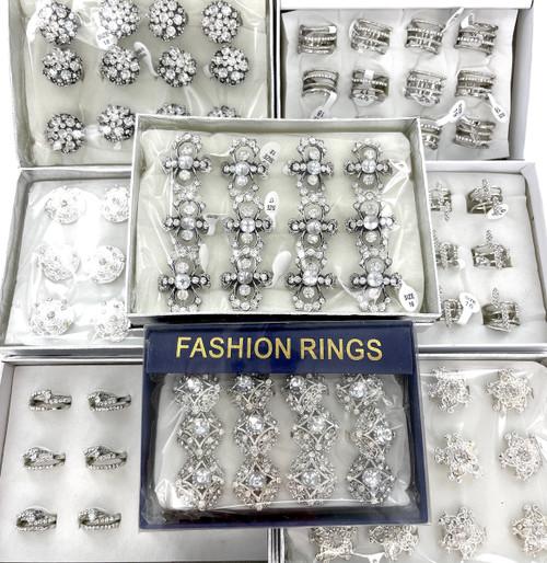 10 Dozen Wholesale Clear Rhinestone, CZ, Crystal Rings in Silver - 120 Rings