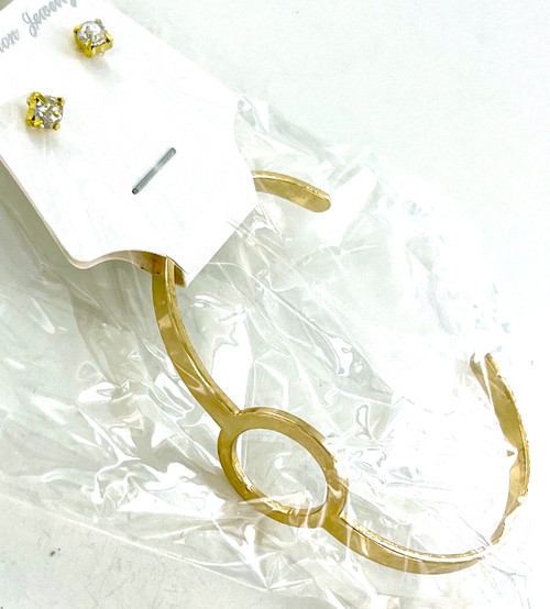 Wholesale Circle Cuff Bracelet with Earring Set by the Dozen