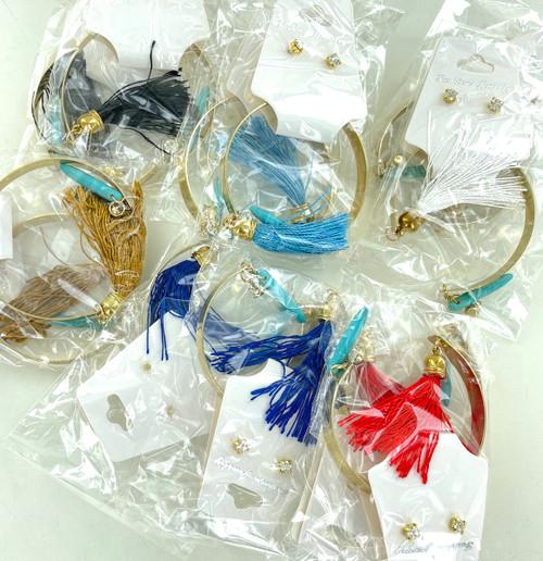 Wholesale Tassel Cuff  Blue Stone Bracelet Sets by the Dozen