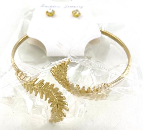 Wholesale Golden Leaf Cuff Bracelet Sets by the Dozen