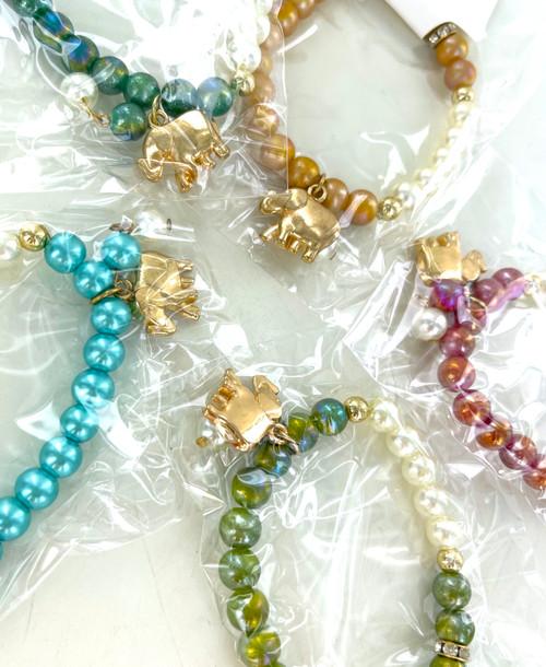 Wholesale Golden Elephant  Iridescent Beads Stretch Bracelets by the Dozen