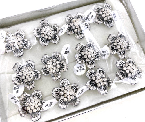 Wholesale Crystal Clear Flower Rings by the Dozen