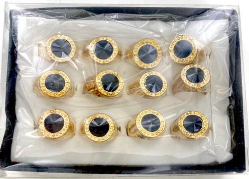 Wholesale Imitation Onyx Pinky Rings by the Dozen