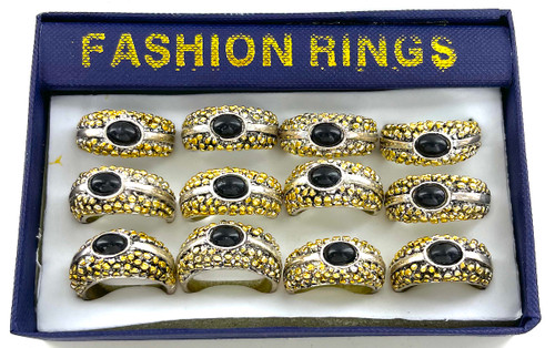 Wholesale Two Tone Nugget & Imitation Onyx Rings by the Dozen