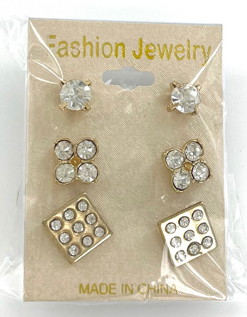 Wholesale Gold Plated Dice Stud Earring Trio by the Dozen