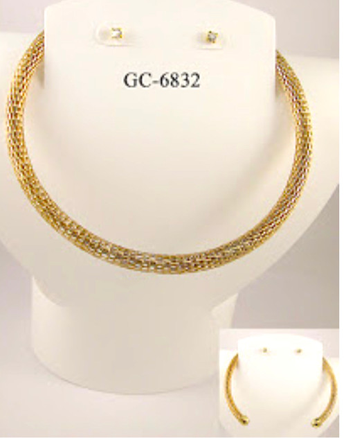 Wholesale Gold Plated Snake Chain Choker Sets by the Dozen