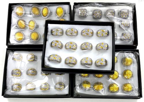 10 Dozen Two Tone Metalsmith Fashion Rings - 120 Rings