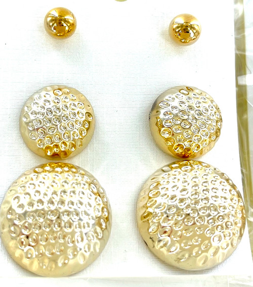 Wholesale Golden Button Earrings Trio by the Dozen
