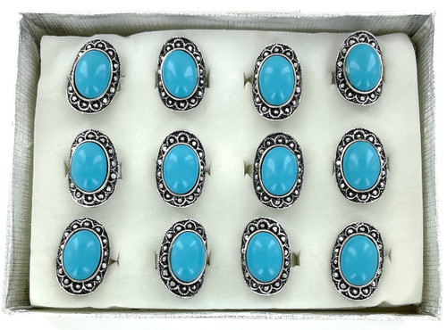 Wholesale Aqua Blue Rings by the Dozen