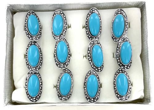 Wholesale Aqua Blue Long Rings by the Dozen