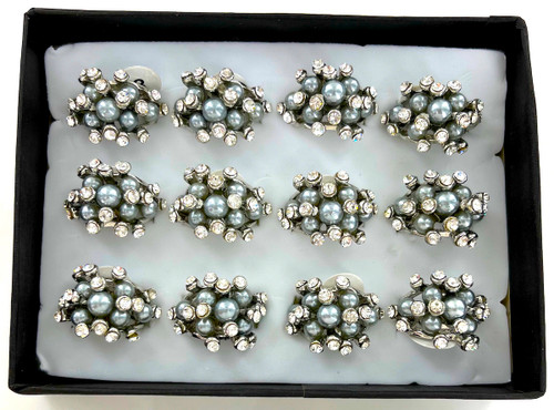 Wholesale Grey Pearl & Crystal Cluster Rings by the Dozen