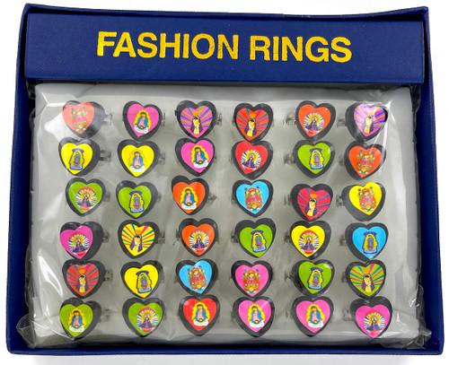 Tray of 36 - Heart Shaped Saints Rings