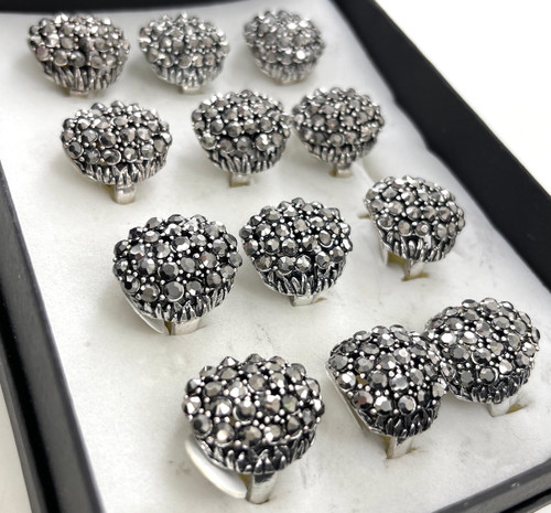 Wholesale Hematite Crystal Dome Rings by the Dozen