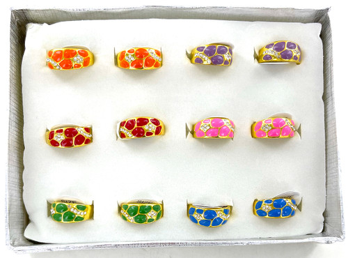 Wholesale Bright Enamel Nugget Rings by the Dozen
