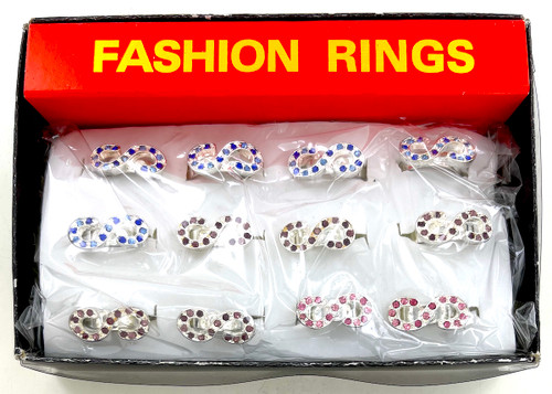 Wholesale Infinity Sparkle Rings by the Dozen - Multi Color