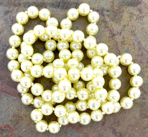 Wholesale Endless Glass Pearl Necklaces by the Dozen - Lemon Meringue - 36 Inches Long