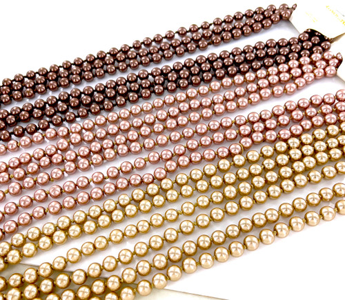 Wholesale Endless Glass Pearl Necklaces by the Dozen - Chocolate - 90 Inches Long