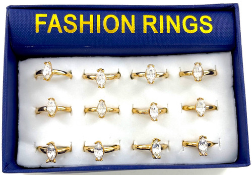 Wholesale CZ Rings by the Dozen - Gold Plated Marquis