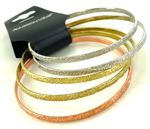 Wholesale Tri Color Metal Bangle Bracelet Sets by the Dozen
