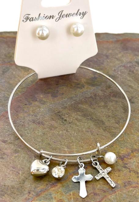 Wholesale Bangle Bracelet Sets by the Dozen - Silver Cross