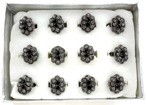 Wholesale Hematite Crystal Rings by the Dozen - Dark Cluster