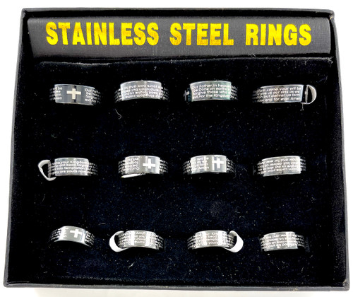 Wholesale Stainless Steel Rings by the Dozen - Lords Prayer