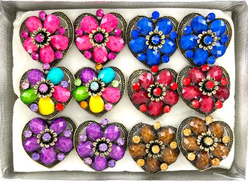 Wholesale Bursting Beautiful Heart Rings by the Dozen