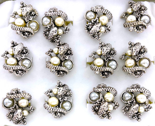 Wholesale Snake and Pearls Rings by the Dozen