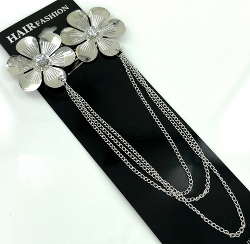 Wholesale Metal Hair Clips by the Dozen - Large Silver Flowers