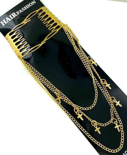 Wholesale Metal Hair Clips by the Dozen - Golden Crosses