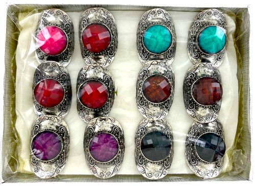 Wholesale Jewel Brights Rings by the Dozen - Sparta