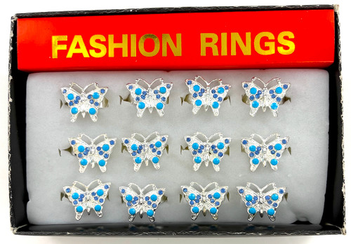 Wholesale Butterfly Rings by the Dozen - Turquoise Crystal