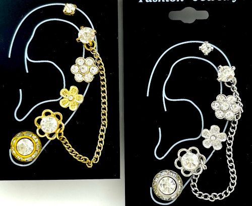 Wholesale Single Earring Collection by the Dozen - Flower Chain - 2 Colors