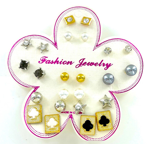 Wholesale 12 Pair Stud Earring Collection - Poker Face