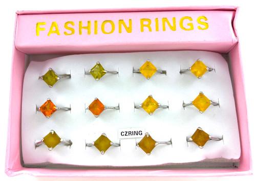 Wholesale CZ Rings by the Dozen - Spring Color Princess Cut