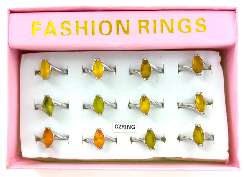 Wholesale CZ Rings by the Dozen - Spring Color Marquis