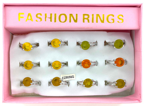 Wholesale CZ Rings by the Dozen - Spring Color Round